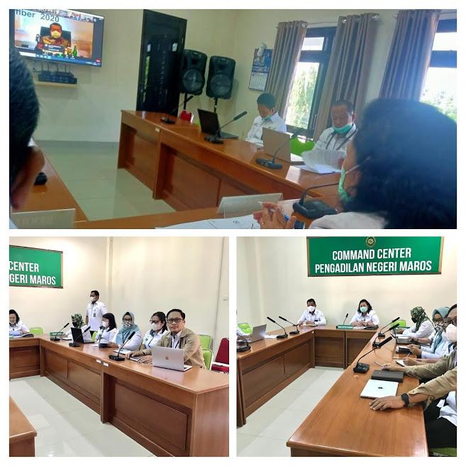 Pembinaan Bidang Teknis dan Administrasi Yudisial secara virtual oleh Pimpinan Mahkamah Agung dan Pejabat eselon I yang dilaksanakan di Palembang, tanggal 11 November 2020,