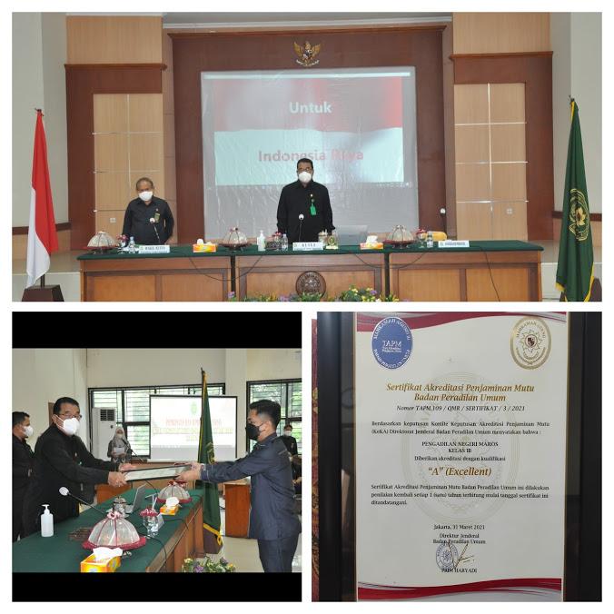 Penyerahan Sertifikat Akreditasi Pengadilan Negeri Maros Kelas IB Th. 2021