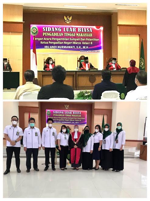 Pengambilan Sumpah dan Pelantikan Ketua Pengadilan Negeri Maros Kelas IB